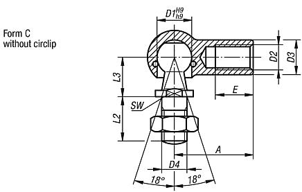 Ball joints, DIN 71802, Form C