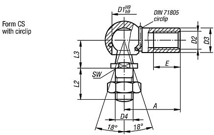 Ball joints, DIN 71802, Form CS