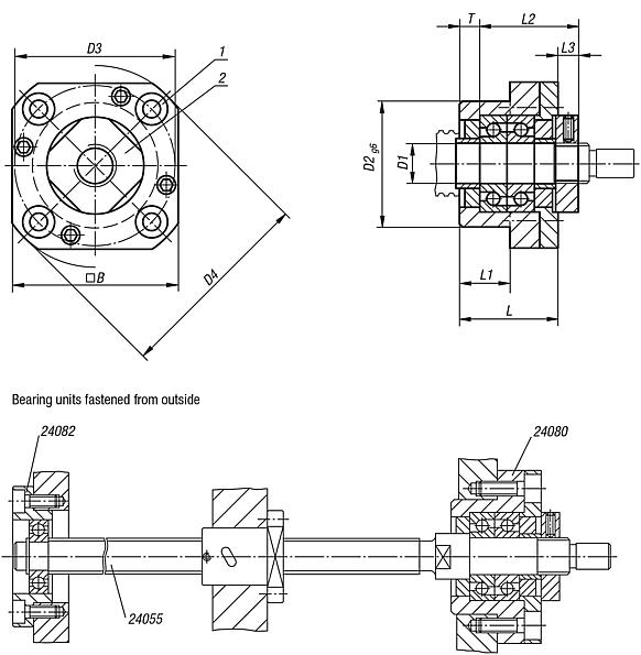 Fixed bearing units flange version