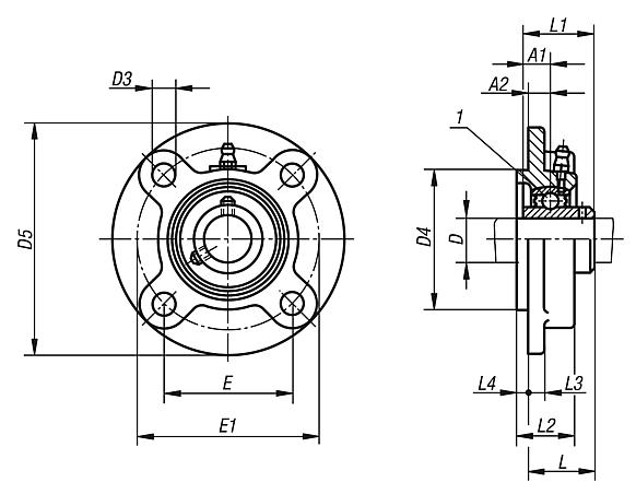 Pillow block bearing flange type UCFC with centring hub