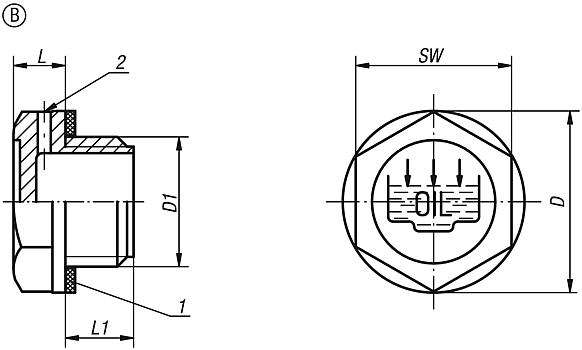 Screw plugs Form B, with fill symbol and vent hole