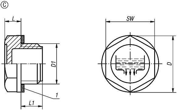 Screw plugs Form C, with drain symbol