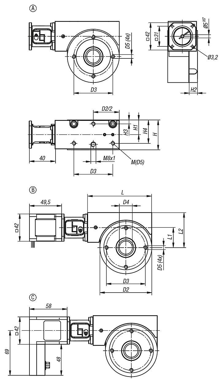norelem - Positionier-Rundtische mit elektrischem Antrieb koaxial