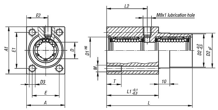 Linear housing unitswith flange, tandem