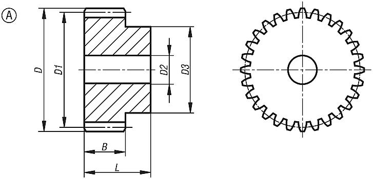 Spur gears in steel, module 8