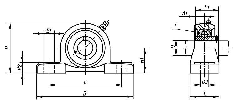 Drawing Lines In Autocad Using Bearings : Norelem pillow block bearing pedestal type ucp
