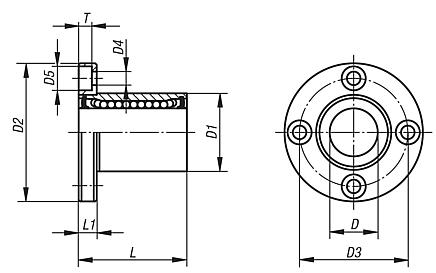 Linear ball bearingswith flange