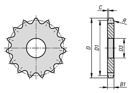 "Sprockets single 3/4"" x 7/16"" DIN ISO 606"