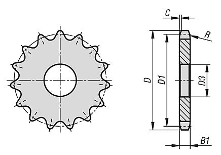 "Sprockets single 3/8"" x 7/32"" DIN ISO 606"