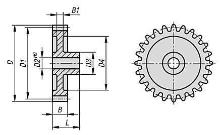 Spur gears, plastic, module 1 injection moulded, straight teeth, engagement angle 20°