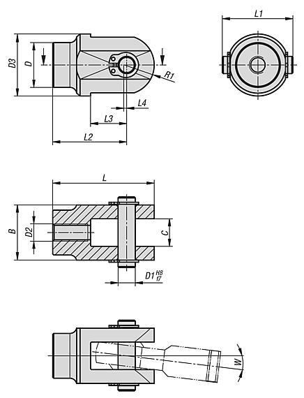 Clevis joints for rod ends