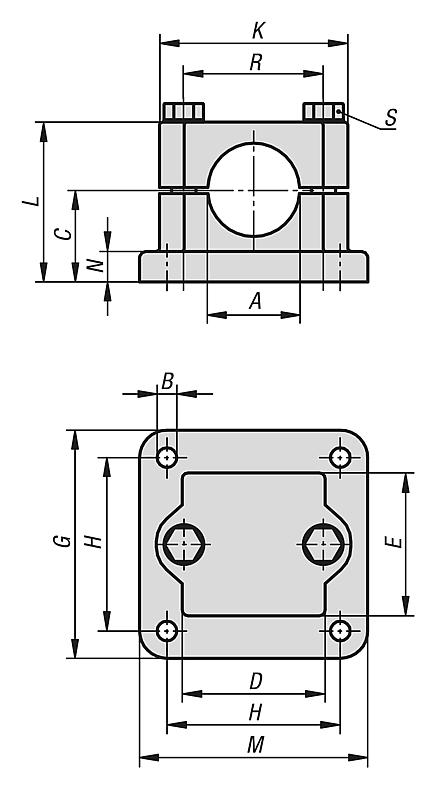 Tube clamps flange, aluminium