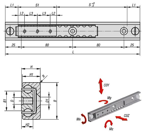 Linear ball bearing with internal race