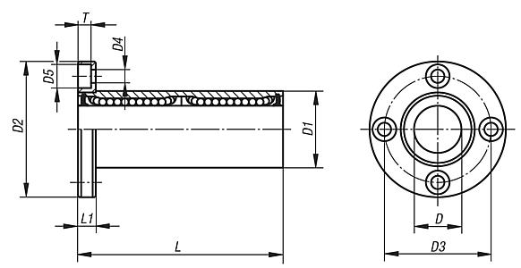 Linear ball bearings with flange, double bearing