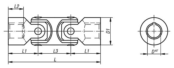 Universal joints double with plain bearing, DIN 808