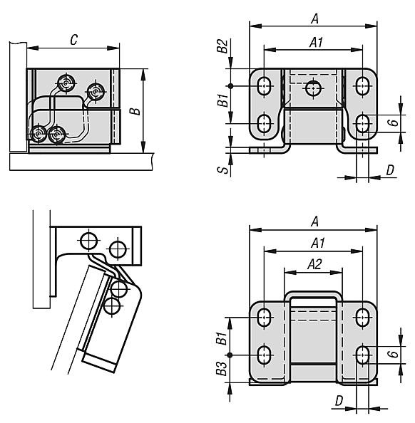 Hinges steel or stainless steel internal, opening angle 125°
