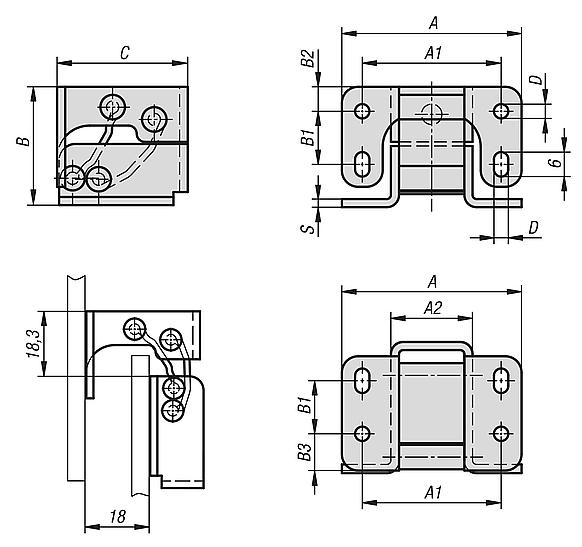 Hinges steel or stainless steel internal, opening angle 90°