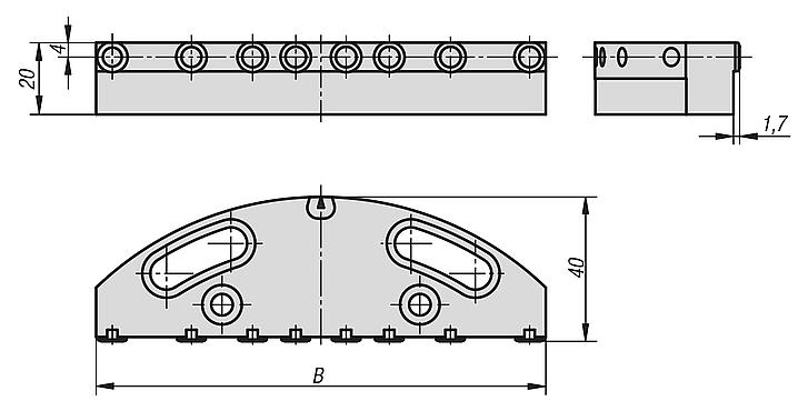 Jaw plates with pins for pendulum jaws
