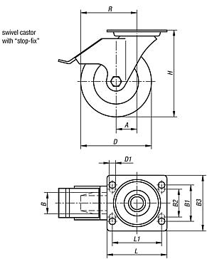 "Swivel castors with ""stop-fix"""