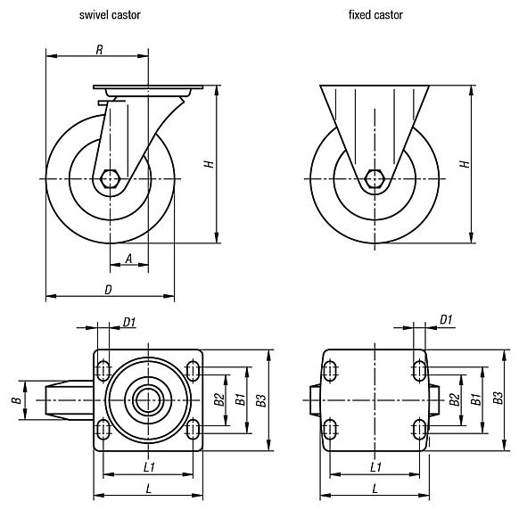 Swivel and fixed castors welded steel heavy-duty version
