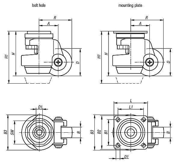 Elevating castors with foot with bolt hole or mounting plate