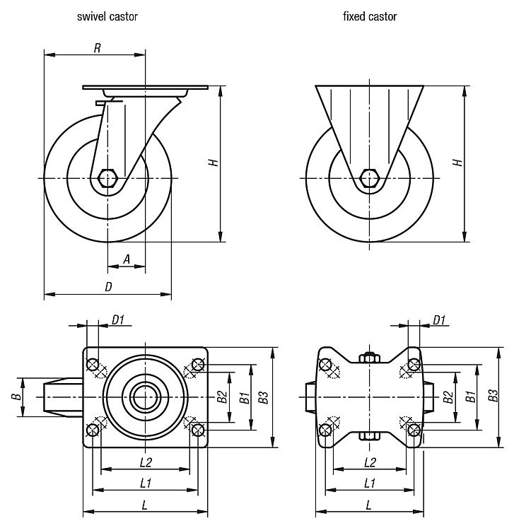 Swivel and fixed castors steel plate, heavy-duty version