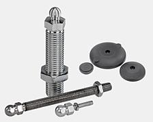 Threaded spindle for swivel foot, steel or stainless steel