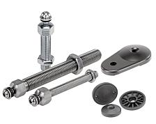 Threaded spindle for levelling foot, steel or stainless steel